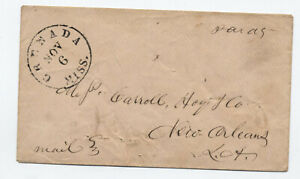 1861 Grenada MS confederate stampless cover paid 5 rate [jp.198]