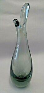 Small Holmegaard Per Lutken bud beak vase 1950's, smokey glass