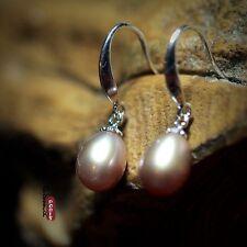Earrings 925 Sterling Silver Cultured Purple FreshWater Pearls Dangle Tear Drop