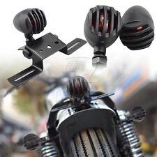 Black Grill Bullet Turn Signal Blinker Brake Rear Lights For Harley Sportster