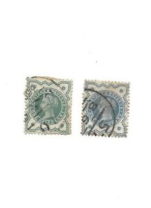 1900 QUEEN VICTORIA NEW COLOURS  1/2d BLUISH GREEN X 2  1/- RED GREEN STAMPS