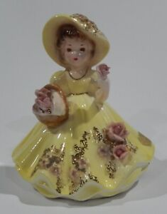 Josef Originals BELLE IN YELLOW HOLDING BASKET figurine w/ Original Labels