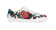 GUCCI Ace Floral Embroidered White Leather Sneakers Shoes Low Top  - Size 7
