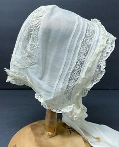 Vintage Antique Organdy White Doll Hat Bonnet With Lace
