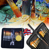 15Pcs Artist Paint Brushes Set Watercolour Acrylic Oil Painting Drawing Brush