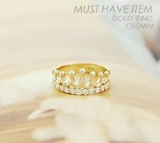 Gold Plated Ring Rhinestone Crystal Crown Ring Shining Jewelry