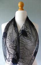 Black gothic scarf, spiders and web bandana, black lace Goth/Halloween scarf,