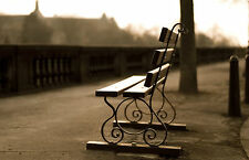 Framed Print - Old Park Bench on a Concrete Pavement / Sidewalk (Picture Poster)