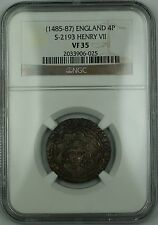 (1485-87) England Silver Groat Fourpence 4P Coin S-2193 Henry VII NGC VF-35 AKR