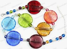 RAINBOW amber green blue chunky MULTI murano foil GLASS BEAD NECKLACE boho