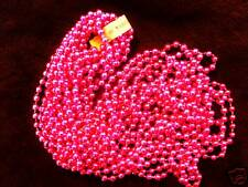"1 DOZEN (12 strands) ""HOT PINK"" MARDI GRAS PARTY NECKLACES BEADS 33"" 7mm"