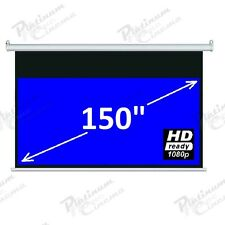 "150"" Electric HD Projection Screen Projector Home Cinema 16 9 Matt White"