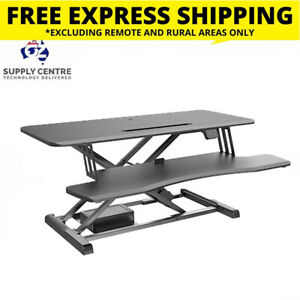 Brateck Electric Sit Stand Desk Converter with Keyboard Tray Deck (Standard Surf