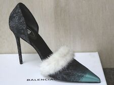NIB BALENCIAGA JACQUARD FEUILLAGE WHITE MINK TRIM SATIN/SILK PUMPS Shoes 40.5