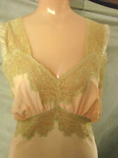 Vintage 30s 40s BIAS Gown Negligee EC Satin S M 34  WIDE ECRU LACE Gathered Bust