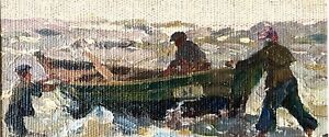 painting Bonya art impressionism vintage seascape old fisherman decor fisher
