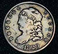 1829 Capped Bust Half Dime 5C High Grade Detail Good 90% Silver US Coin CC4744