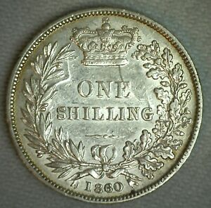 1860 Great Britain Shilling Silver World Coin Cracked Die UK England Extra Fine
