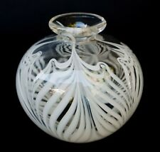 Clear White eathered Art Glass Vase, Signed R.S.SMITH 5""