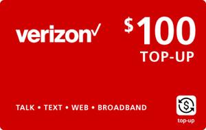 VERIZON WIRELESS - $100 Refill,  Top-Up Airtime Card for Verizon Prepaid Service