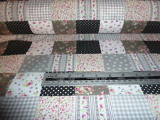 BLACK AND COLOURS PATCHWORK LIGHT WEIGHT POLY COTTON BY THE METRE - FREE POSTAGE