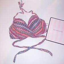 Victoria Secret Swim Suit Wear Bikini Top Wrap Around Geo Colorful Metallic NEW