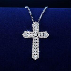 0.3ct CZ 5A Cubic Zircon Cross Pendant Necklace 925 Sterling Silver Necklace