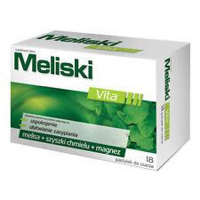 MELISKI 18 pastylek do ssania STRES nerwy układ nerwowy uspokojenie MELISA