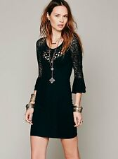 Free People Sz L Dress 'City Girl' Black Textured Knit Bodycon Lace Flared Cuff