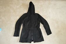 Joseph Black Sheepskin Leather Hooded Shearling Zip Jacket Coat Small / UK 8