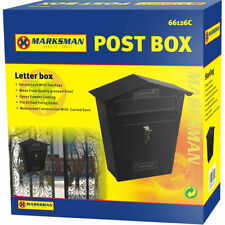 LARGE - BLACK LETTER POST MAIL BOX MAILBOX POSTBOX LETTERBOX OUTDOOR LOCKABLE