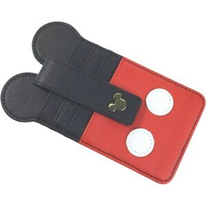 Disney Parks Mickey Mouse Ears Icon Credit Card ID Holder Wallet Red Black NWT