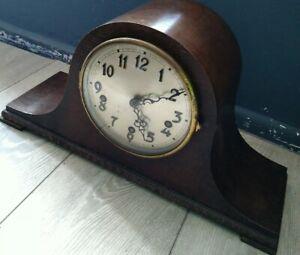 Baduf Vintage Mantel clock in good working order 9.5' H Wooden Brass Mechanism