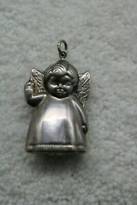 Sterling Silver Puffy 3D Angel Pendant 925 Jewelry