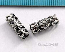1x  STERLING SILVER TUBE FLOWER CORD NECKLACE SLIDE SPACER BEAD 4mm cord #2844