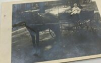POSTCARD RPPC Photo Antique VTG Baby Driving Horse Buggy Comedy Novelty 1900s