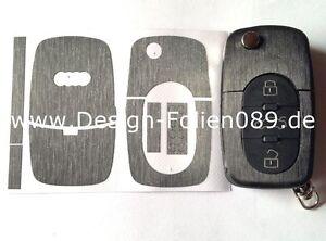 Schwarz Gebürstet Schlüssel Folie Audi TT 5B A4 S3 A3 A1 8e S4 8N 8P 8L A2 A6 6B