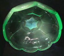 Vaseline Glass Bowl Edwardian Antique Art Deco Uranium Fruit Plate Tray Dish WoW