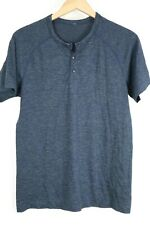 Lululemon Mens Medium Blue Henley Short Sleeve Athletic Shirt