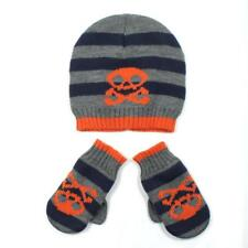 Toddler Boys Skull Orange Beanie Hat and Gloves Mittens 2T-4T Set