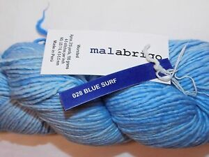 Lovely BLUE SURF Lg Skein 210yd Malabrigo WORSTED Kettle-Dyed MERINO x-Soft YARN