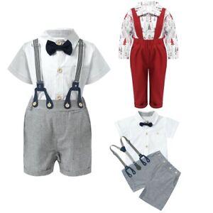 Newborn Baby Boys Gentleman Outfit Romper Shirt Suspender Shorts Toddler Clothes