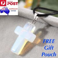 Real Natural Opal Opalite Crystal Quartz Cross Pendant Leather Necklace Gift New