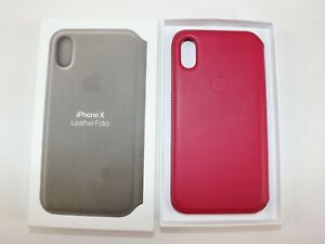 New in Box $120 APPLE iPhone X HOT PINK Smooth Leather Folio Phone Case