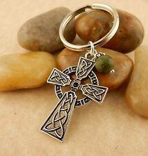 Irish Celtic Cross Keychain, key tag w/ Connemara Marble bead