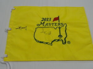 ADAM SCOTT & GUAN TIANLANG SIGNED 2013 MASTERS PIN FLAG AUTOGRAPHED VERY RARE