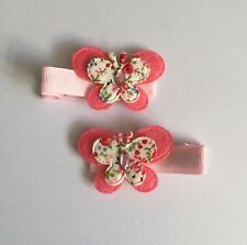 Pair Of Pink Butterfly hair Clips/aligator Clip/party Accessories
