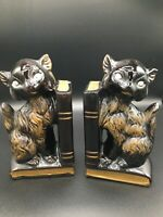 Vintage Black Cat Bookends with Pen Holders - Made in Japan- Hand Painted