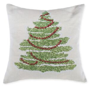 Tracy Tree Design Square Decorative Throw Pillow Cover in Ivory 20x20 NWT