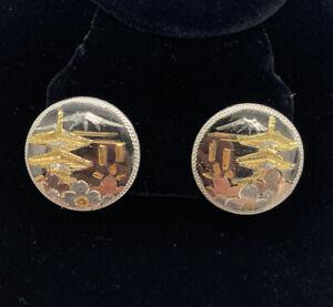 Vintage Sterling Gold Inlay Japanese Damascene Round Clip on Flowers Pagoda Fuji